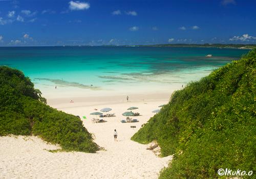 真っ白な砂丘と青い海