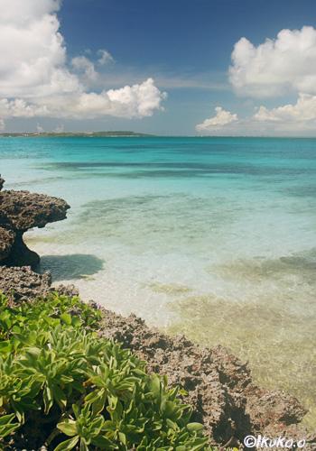岩場の上から見える青い海