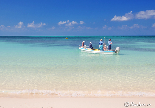 青い海とビーチと漁船