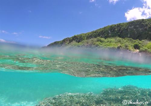 水中のサンゴと夏空
