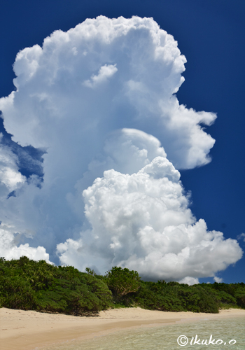 ビーチの入道雲