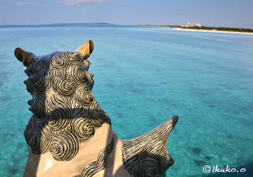 海を見つめるシーサー