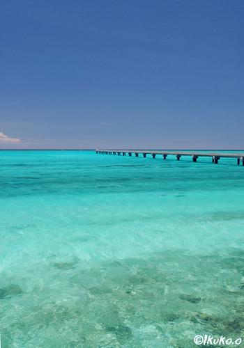 青い海の中の進入路