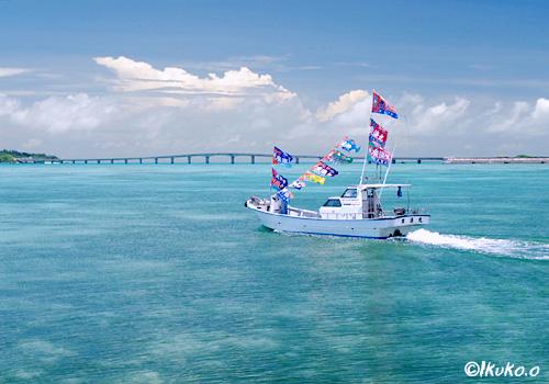 海に映える大漁旗