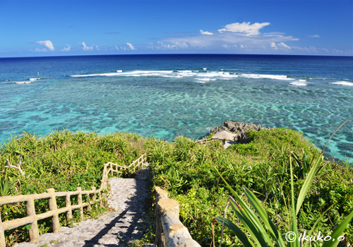 サンゴ礁の海へ続く階段