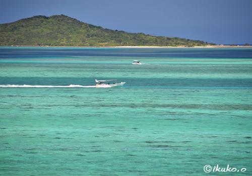 青い海を走る漁船