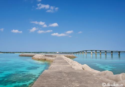珊瑚礁の海にのびる防波堤
