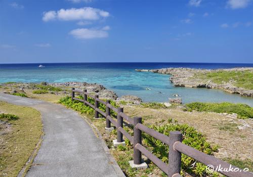 白鳥崎の遊歩道と海
