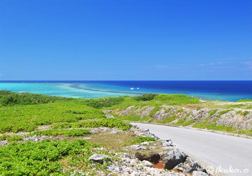 道の先に見える青い海