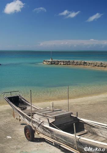 青い海とサバニ