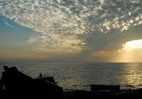 雲と夕陽の競演