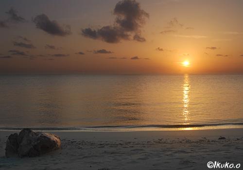 前浜ビーチの夕陽