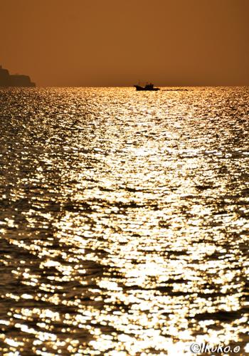 金箔を敷き詰めたような海