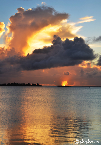 夏雲と夕陽