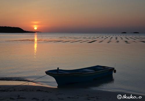 大浦湾の夕日