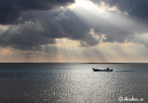 幻想的な光と海