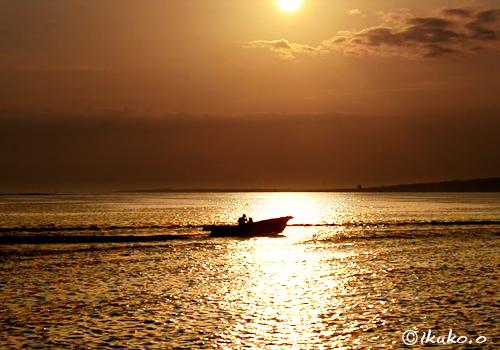 輝く海を走る漁船