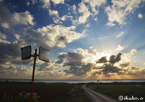 道の先に沈む夕陽