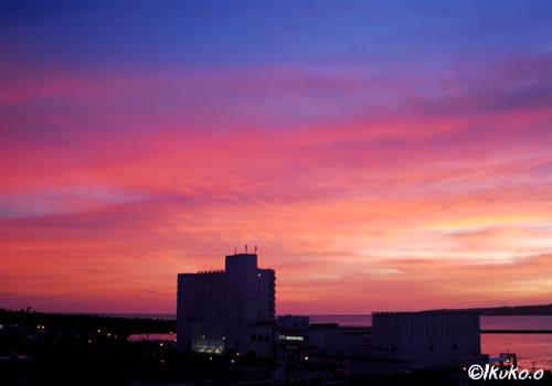 ピンク色の夕陽